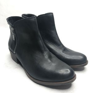 Lucky Brand Breah Black Leather Double Zip Bootie